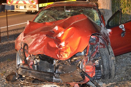 A Mitsubishi Eclipse destroyed in an accident on October 11, 2014 in Runville Pa. The car, driven by Brian Butler of Milesburg, Pa., swerved off the roadway and struck four trees, two culverts, a road sign, and flipped mulitple times. Butler was not seriously injured.